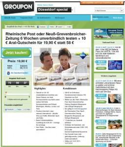 Kurzabo-Angebot der Rheinischen Post bei Groupon