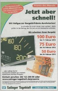 Prämien-Countdown bei Solinger Tageblatt